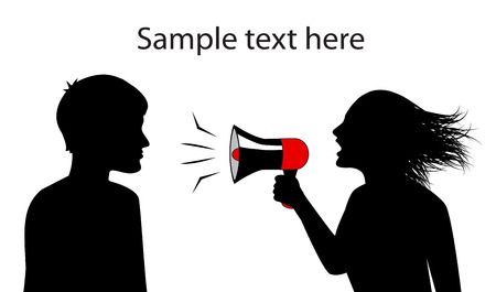 silhouettes of man and woman  woman shouts in a megaphone   Vector