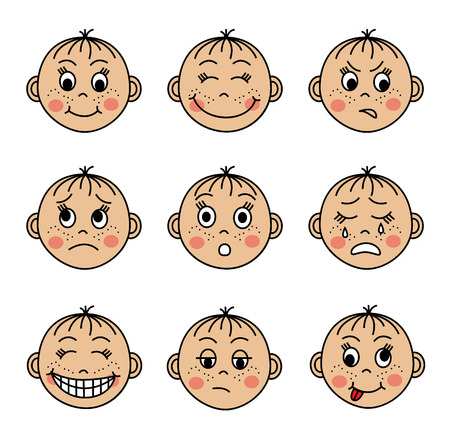 child laughing: Cartoon emoticons set with round baby faces Illustration