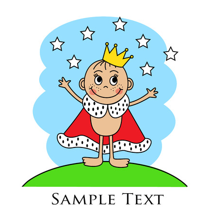 Cartoon baby in the crown and mantle standing arms outstretched on the lawn Vector