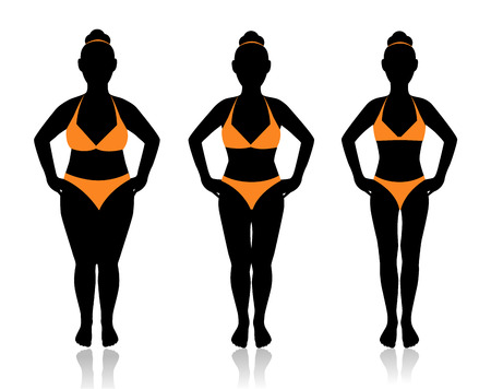 female silhouette in a bathing suit at a different weight and the effect of diet