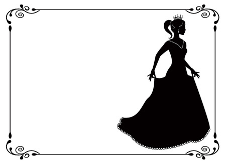 19th century: silhouette of a woman in long dress and vintage frame with swirls   Illustration