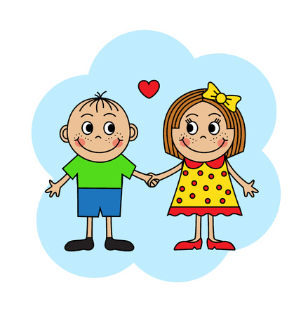 emotions faces: Cartoon boy and girl in love holding hands