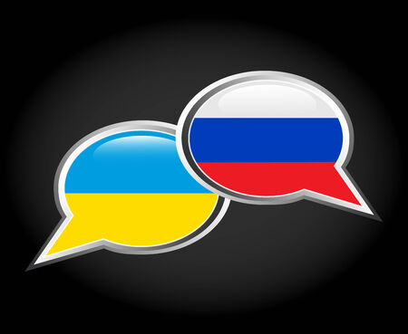 dialogue bubbles painted in the colors of the Russian and Ukrainian flags Vector