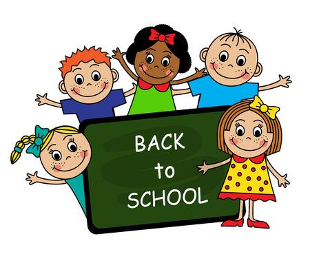 Los niños de dibujos animados de diferentes naciones y de la junta escolar con las palabras de regreso a la escuela Vectores