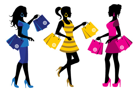 three elegant female silhouette with shopping bags on white  Vector