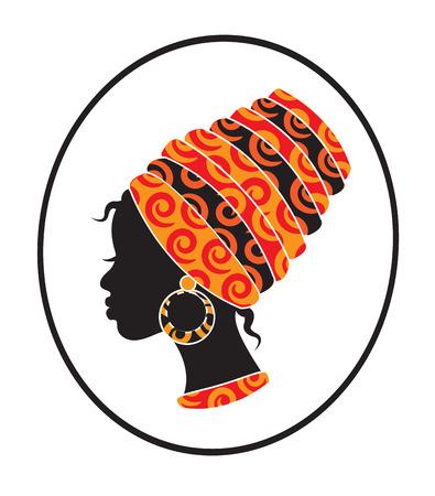 아프리카 소녀 프로필에 그녀의 머리에 스카프와 얼굴 일러스트