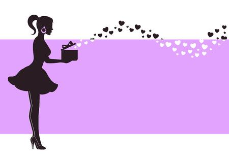 보라색 배경에 마음을 비행하는 선물 상자 소녀