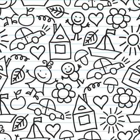 seamless pattern with children s drawings on bright striped background Vector
