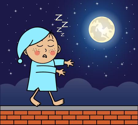 Schlafwandler zu Fuß auf dem Dach der Nachthimmel und Vollmond Illustration