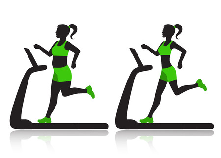 Silhouette of a woman on a treadmill before and after she lost weight  Vector