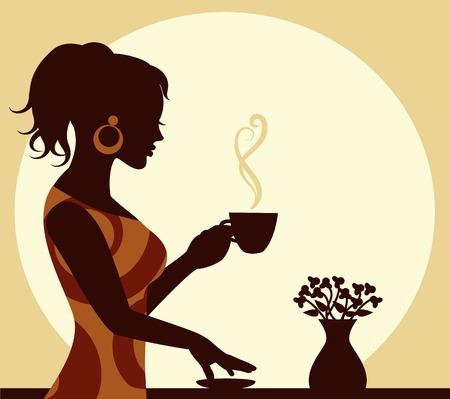 손에 커피 김이 한 잔 여자