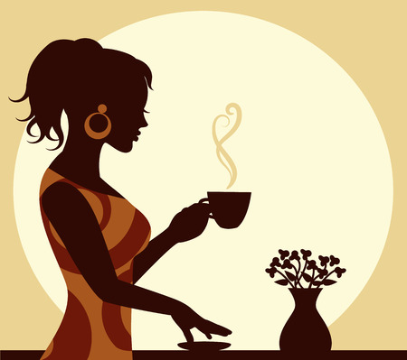 woman with a cup of steaming coffee in hand Vector