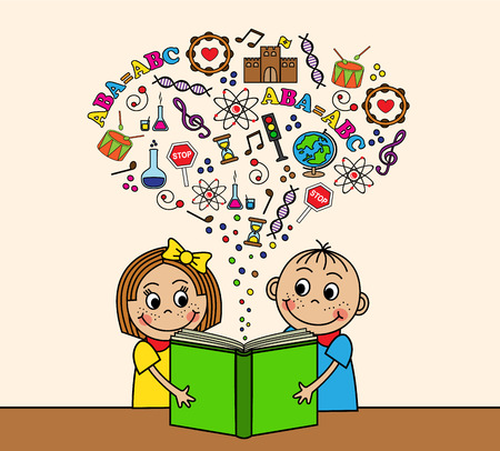 sit back: Cartoon boy and girl reading a book while sitting at a table