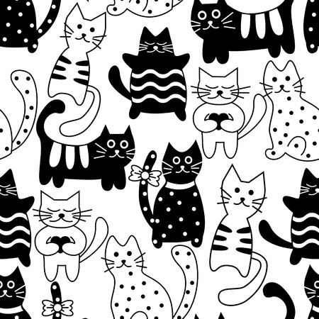 Cartoon seamless black and white cats and hearts on a white background Vector