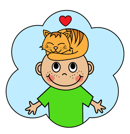 affectionate: Cartoon boy with a sleeping red cat on his head   Illustration