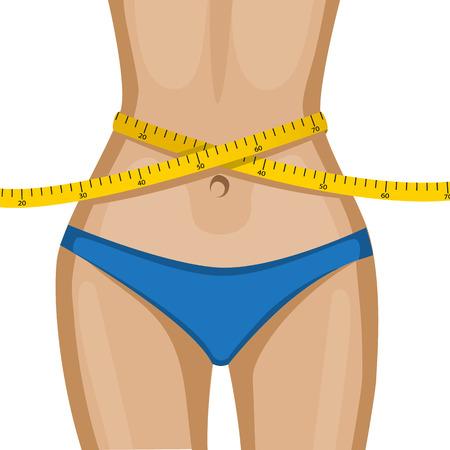 노란색 측정 테이프와 함께 우아한 여성의 허리 일러스트