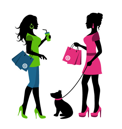 Two women silhouettes with packages and a dog on a leash Vector