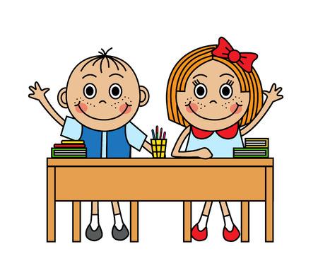 Cartoon děti sedí ve školní lavici a vytáhnout ruku odpovědět