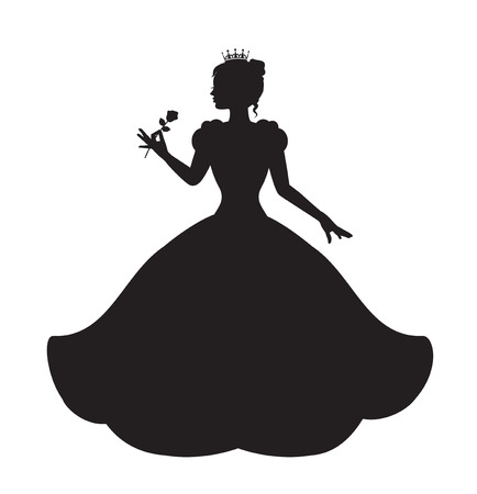 princess silhouette in long lush dress holding a rose 向量圖像