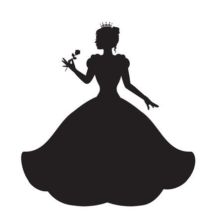 Silueta princesa en vestido exuberante largo que sostiene una rosa Foto de archivo - 30539559
