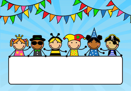 Cartoon children in carnival costumes hold a poster   Vectores