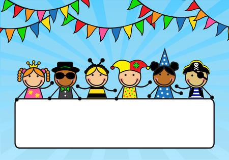 niños saludo: Niños de la historieta en trajes de carnaval tienen un cartel