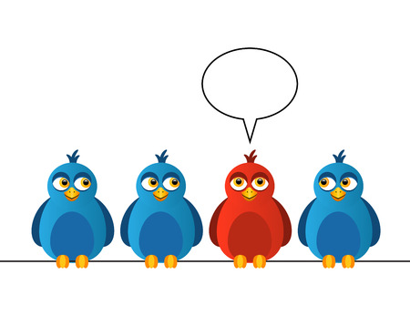 Four birds sitting on wires  One bird is red and says Vector