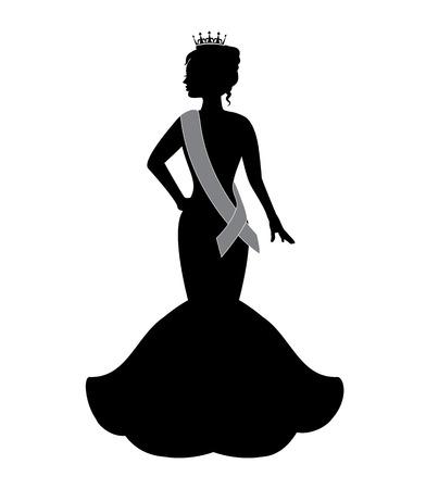 prinzessin: Silhouette einer Schönheitskönigin trägt eine Krone und ein Abendkleid