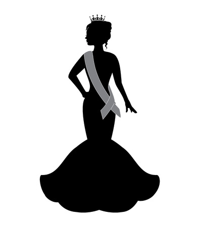 silhouette of a beauty queen wearing a crown and an evening dress Vector