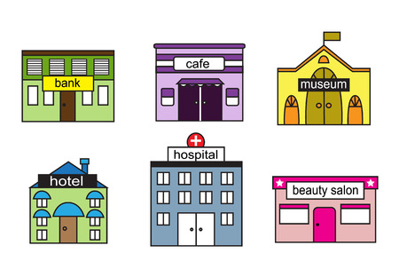 modern hospital: Cartoon s homes with various agencies and sign