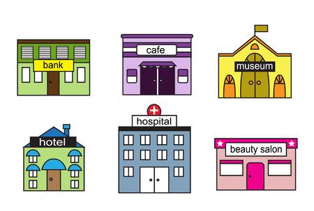hospital dibujo animado: Casas Cartoon s con diversos organismos y signo
