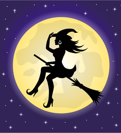 silhouette of beautiful witch with hat flying on a broomstick on the background of the moon and the sky Vettoriali