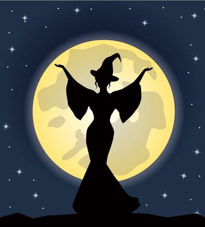 witch silhouette: beautiful witch standing against the background of the moonlit night