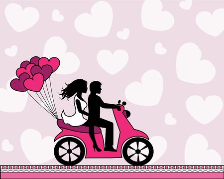 heterosexual couple: silhouettes of a couple in love riding a motorbike on a light background with hearts Illustration
