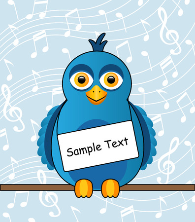 Cartoon blue bird with a sign around his neck Vector