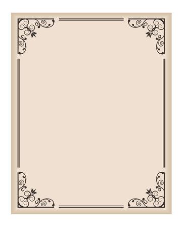 dividing: vertical frame with patterned corners on a light background Illustration