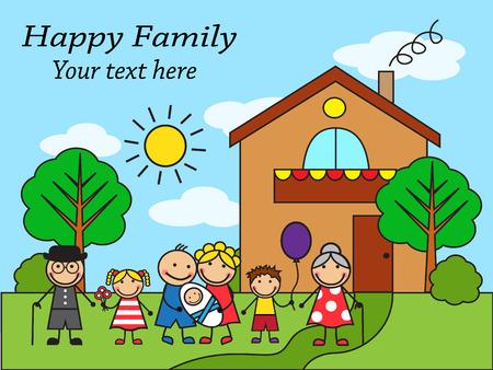 familia unida: Familia feliz de dibujos animados sobre el fondo de la casa Vectores