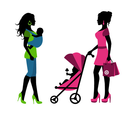 sling: silhouettes of a woman with children in a sling and stroller