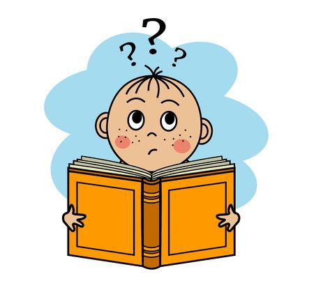 book mark: Cartoon boy reading a book and can not understand