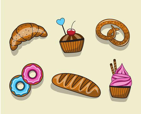 produits céréaliers: Ensemble de gâteaux et pâtisseries de bande dessinée