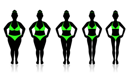 slimming woman in a swimsuit in different weights 일러스트