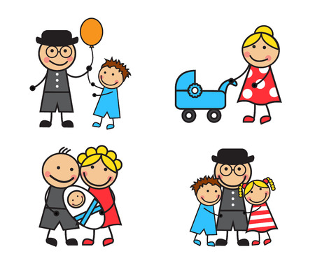 Cartoon family and children in different situations