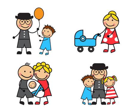 家族やさまざまな状況で子供たちを漫画します。  イラスト・ベクター素材