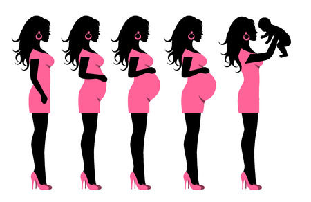 health cartoons: silhouettes in profile of pregnant woman