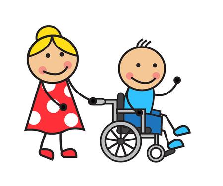 niños discapacitados: Hombre de la historieta en una silla de ruedas y una mujer en silla de ruedas ruedas