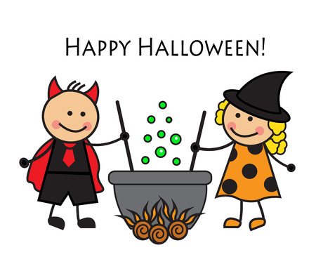 Cartoon people in costume Halloween brew a potion in a cauldron