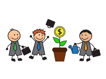 one businessman watering a money tree, and other businessmen looking and happy Vector