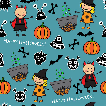 Halloween seamless pattern with boiler, monster pumpkins and other symbols of the holiday Vector