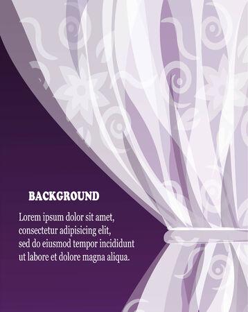 witte tule gordijn met een patroon op een violette donkere achtergrond
