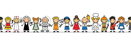 seamless kids in costumes professions standing in a row on a white background Vectores